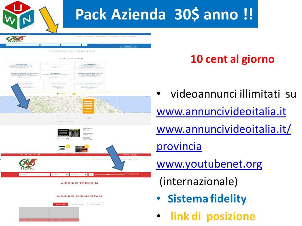Pack Azienda 30$ anno !! 10 cent al giorno videoannunci illimitati su