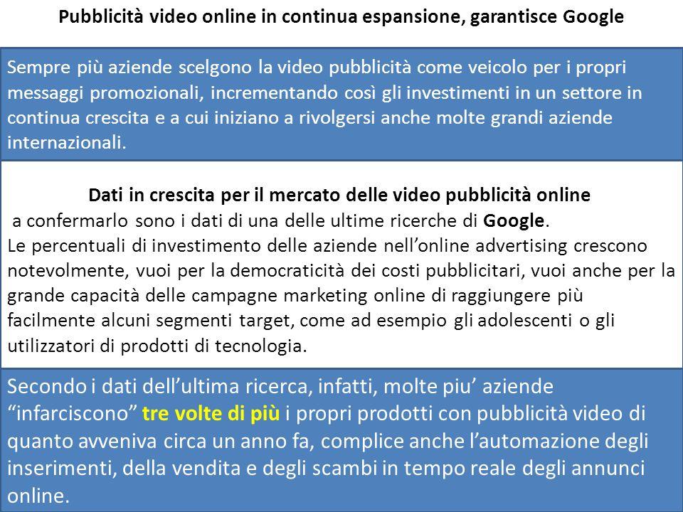 Pubblicità video online in continua espansione, garantisce Google