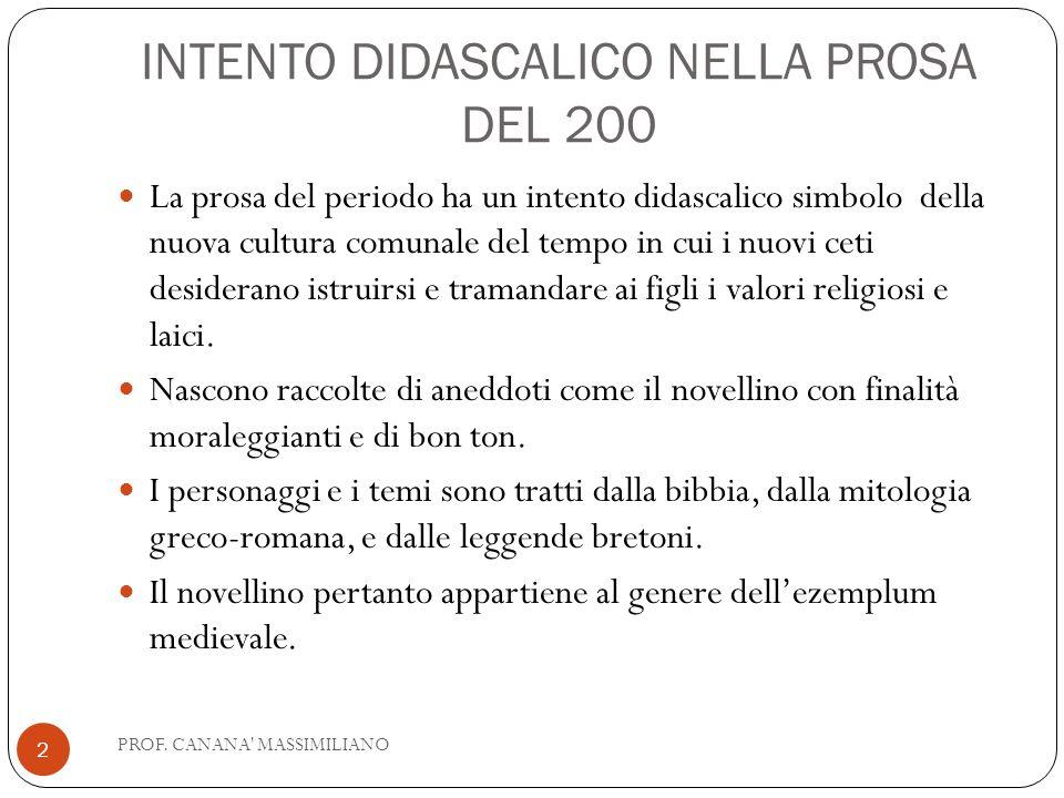 INTENTO DIDASCALICO NELLA PROSA DEL 200