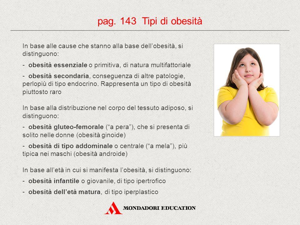 pag. 143 Tipi di obesità In base alle cause che stanno alla base dell'obesità, si distinguono: