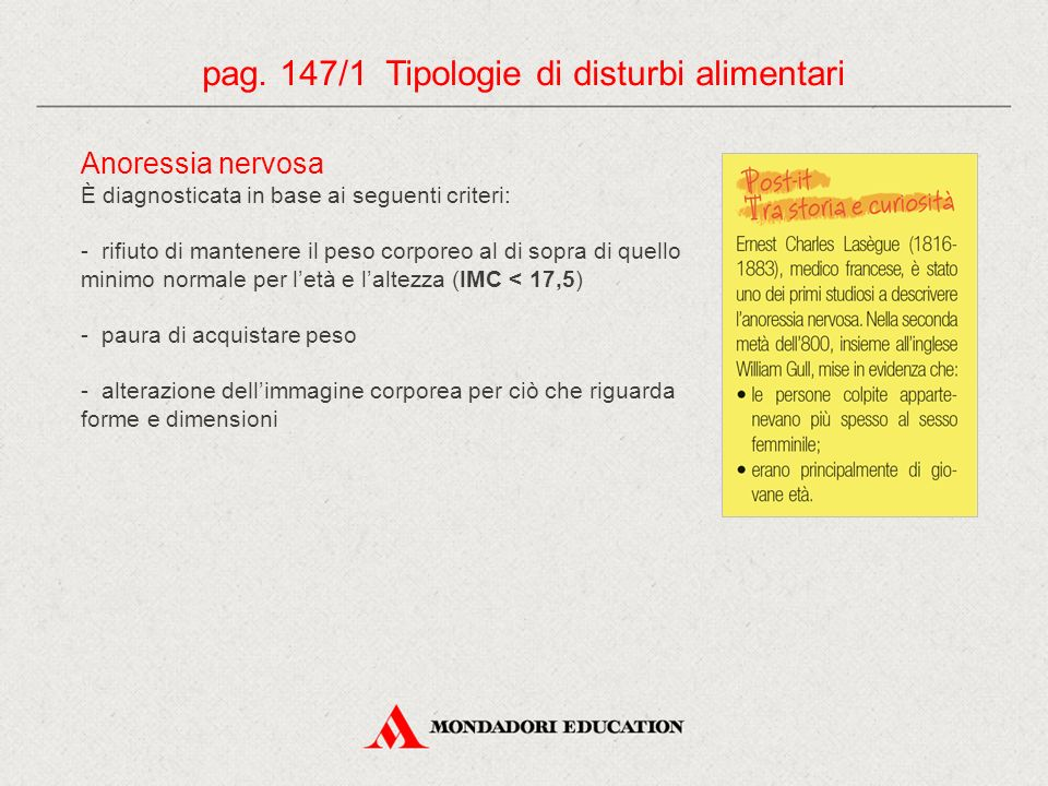 pag. 147/1 Tipologie di disturbi alimentari