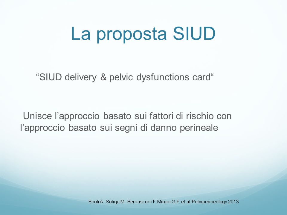 La proposta SIUD SIUD delivery & pelvic dysfunctions card