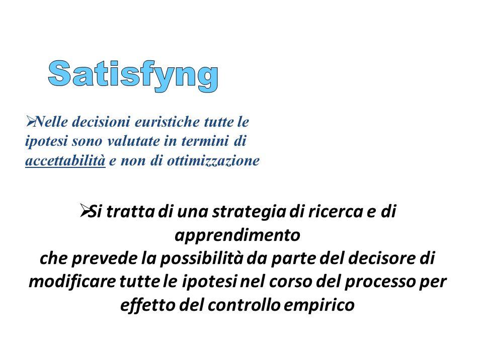Satisfyng Nelle decisioni euristiche tutte le ipotesi sono valutate in termini di accettabilità e non di ottimizzazione.