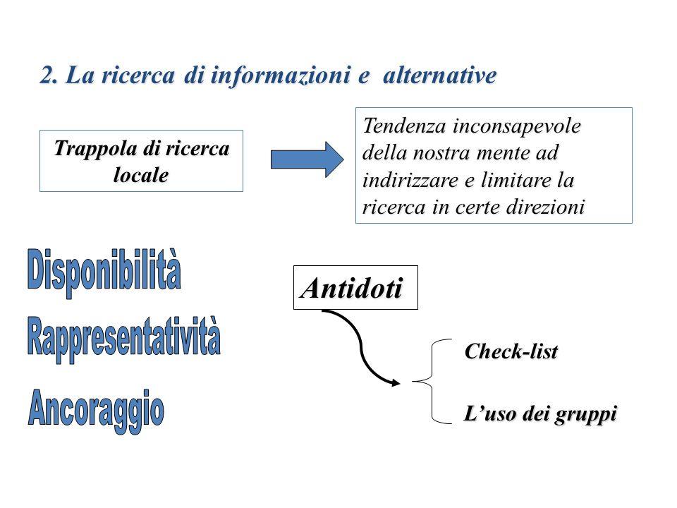 2. La ricerca di informazioni e alternative Trappola di ricerca locale