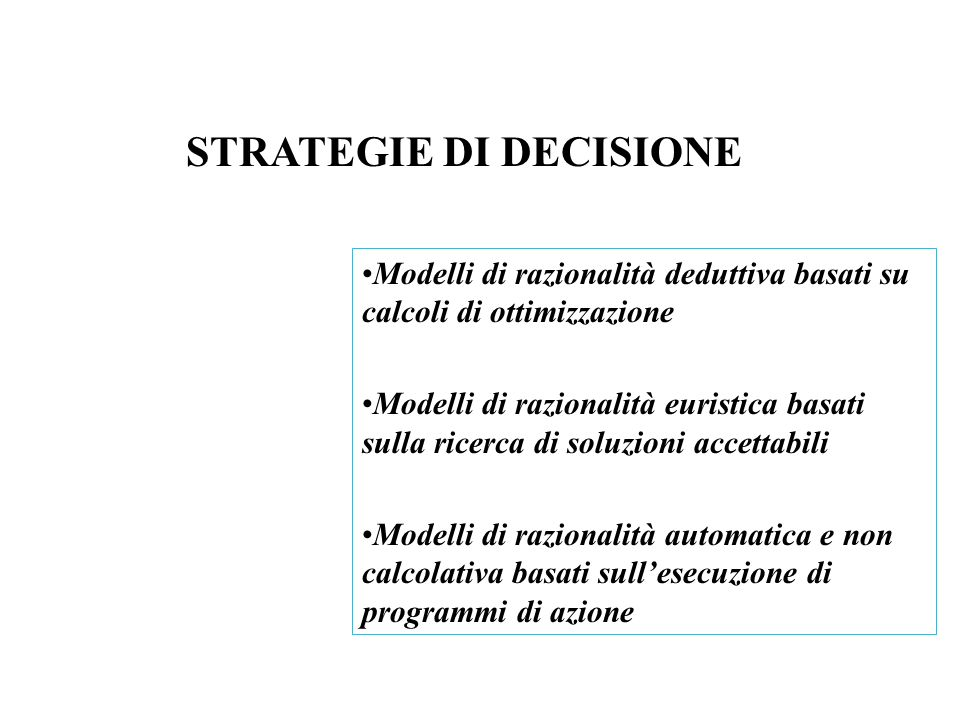 STRATEGIE DI DECISIONE
