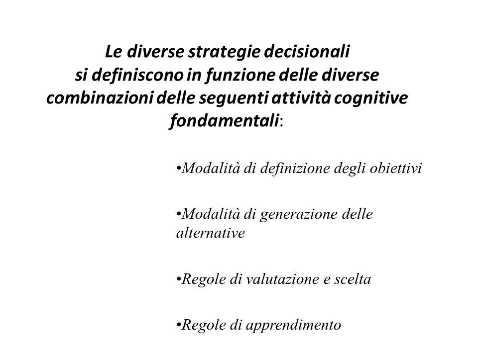 Le diverse strategie decisionali si definiscono in funzione delle diverse combinazioni delle seguenti attività cognitive fondamentali: