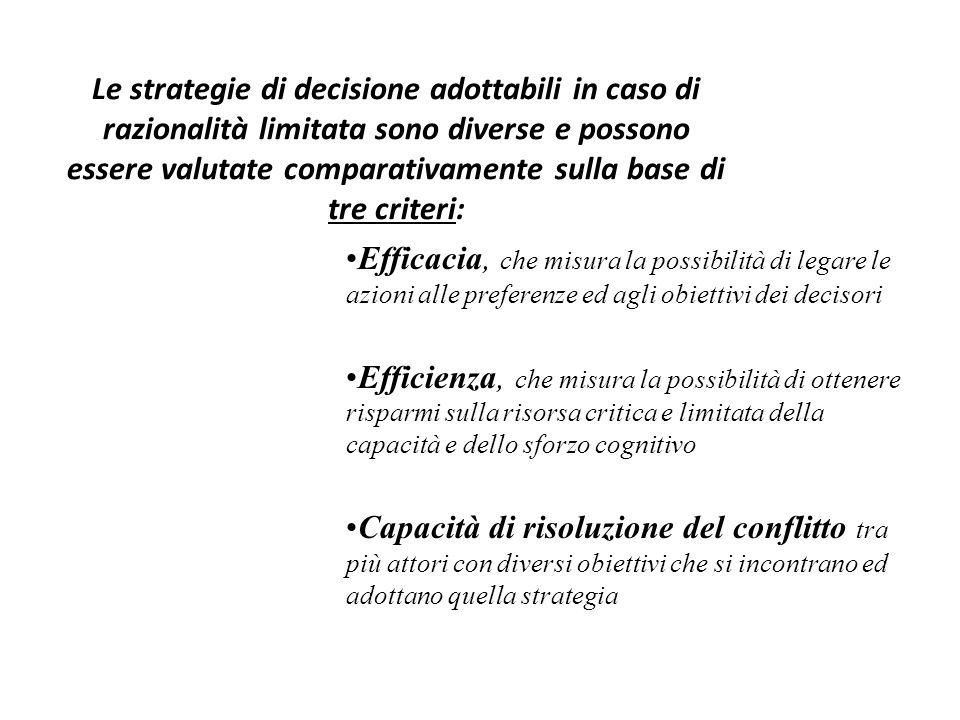 Le strategie di decisione adottabili in caso di razionalità limitata sono diverse e possono essere valutate comparativamente sulla base di tre criteri: