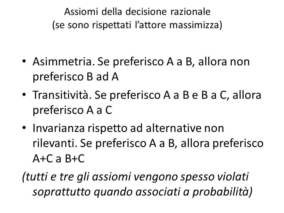 Asimmetria. Se preferisco A a B, allora non preferisco B ad A
