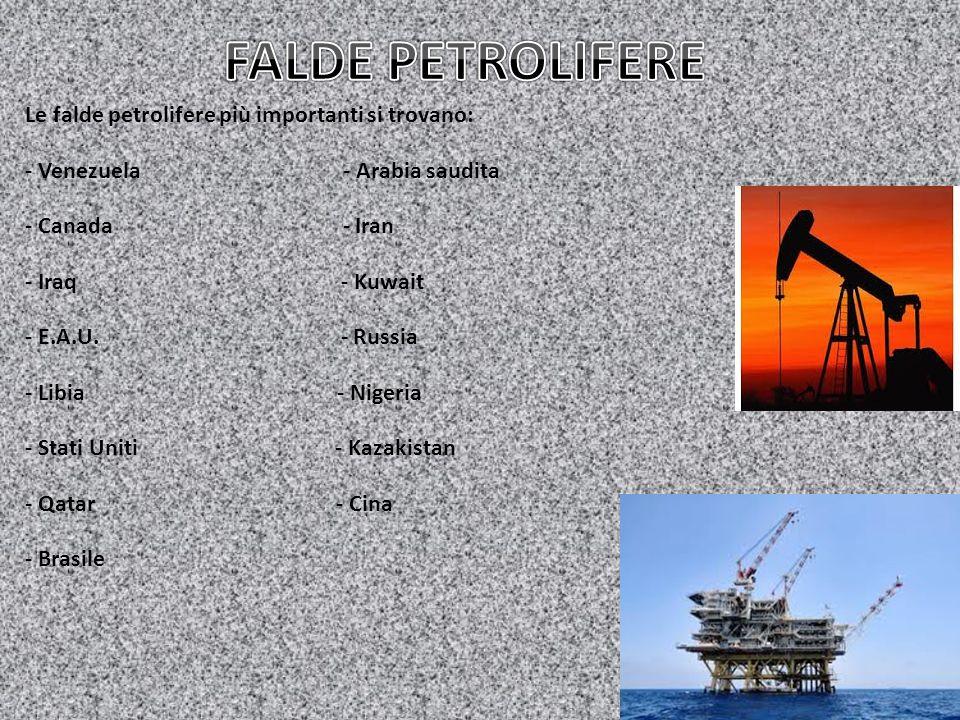 FALDE PETROLIFERE Le falde petrolifere più importanti si trovano: