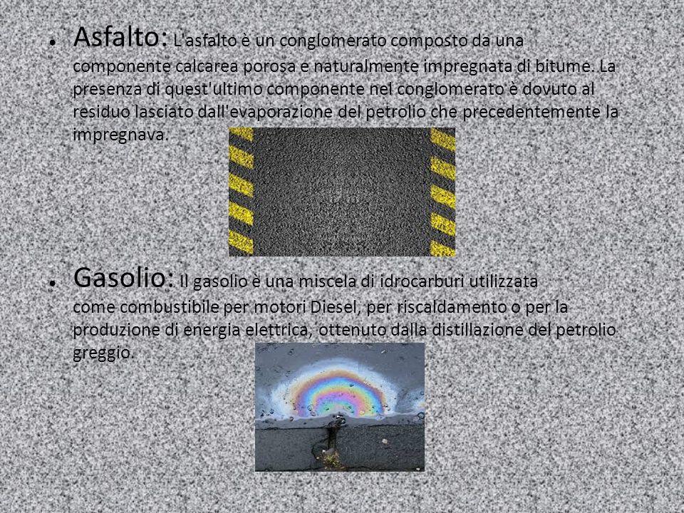 Asfalto: L asfalto è un conglomerato composto da una componente calcarea porosa e naturalmente impregnata di bitume. La presenza di quest ultimo componente nel conglomerato è dovuto al residuo lasciato dall evaporazione del petrolio che precedentemente la impregnava.