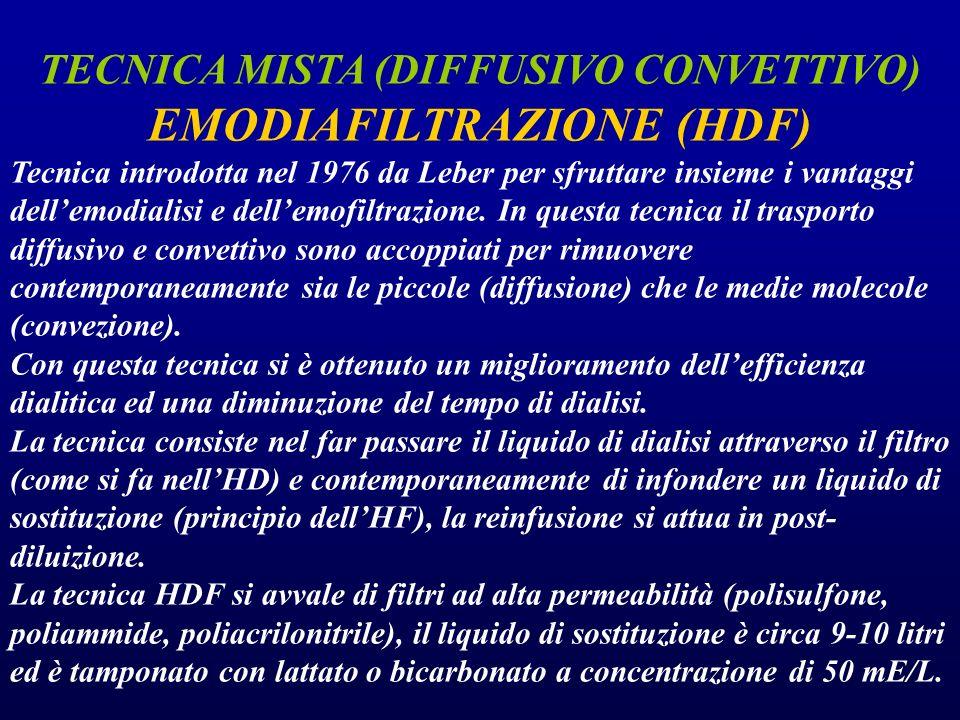 TECNICA MISTA (DIFFUSIVO CONVETTIVO) EMODIAFILTRAZIONE (HDF)
