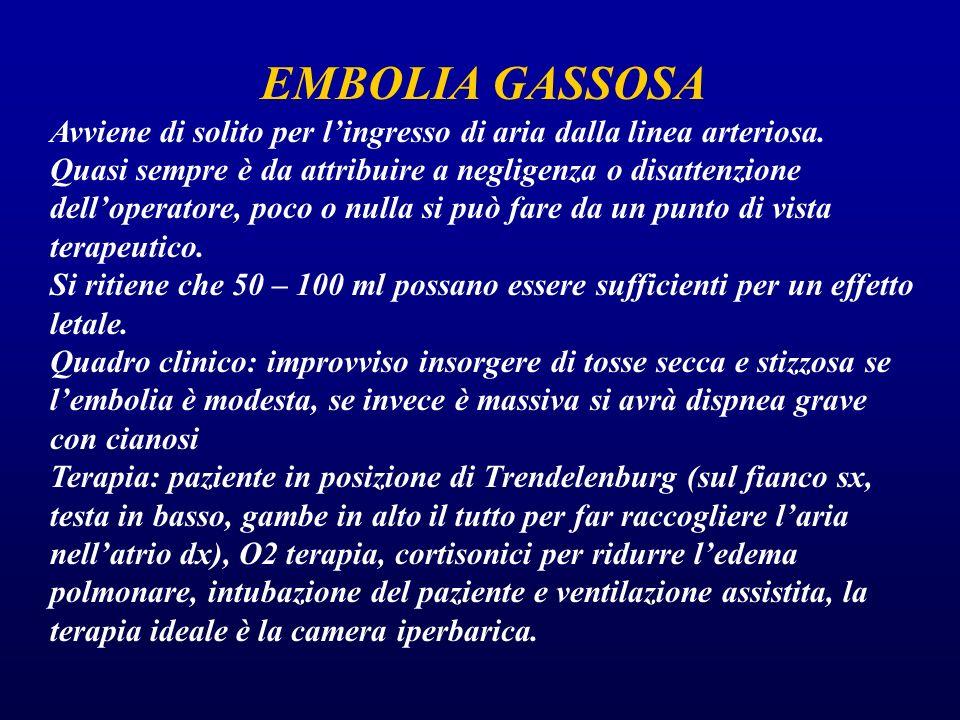 EMBOLIA GASSOSA Avviene di solito per l'ingresso di aria dalla linea arteriosa.
