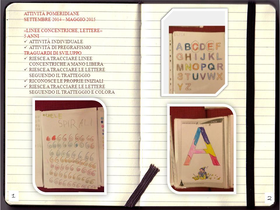 ATTIVITÀ POMERIDIANE SETTEMBRE 2014 - MAGGIO 2015 «LINEE CONCENTRICHE, LETTERE» 5 ANNI. ATTIVITÀ INDIVIDUALE.