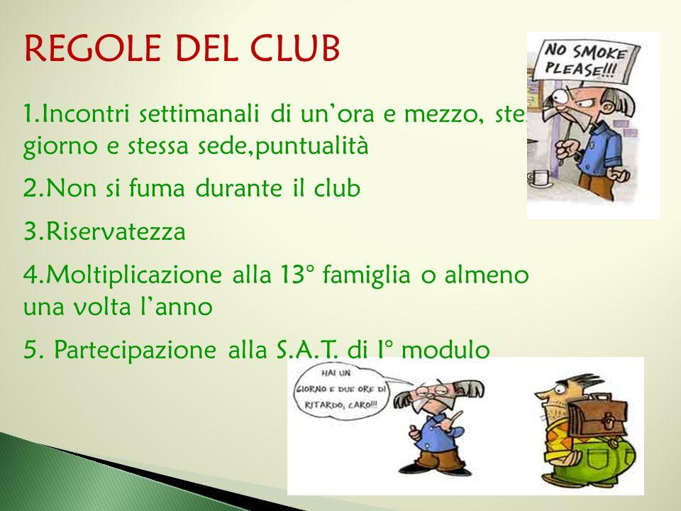 REGOLE DEL CLUB Incontri settimanali di un'ora e mezzo, stesso giorno e stessa sede,puntualità. Non si fuma durante il club.