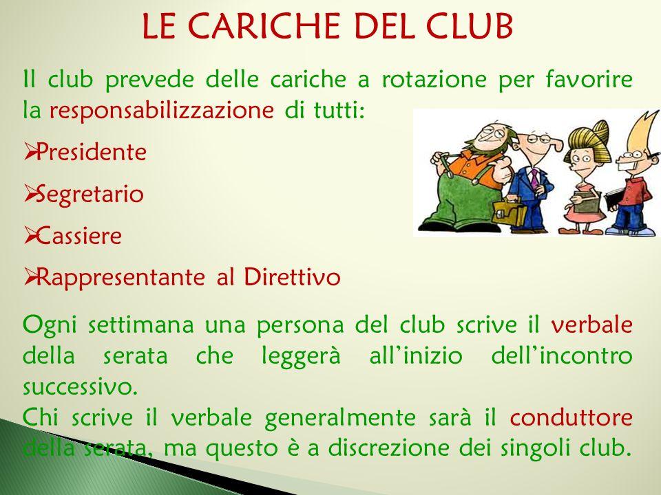 LE CARICHE DEL CLUB Il club prevede delle cariche a rotazione per favorire la responsabilizzazione di tutti: