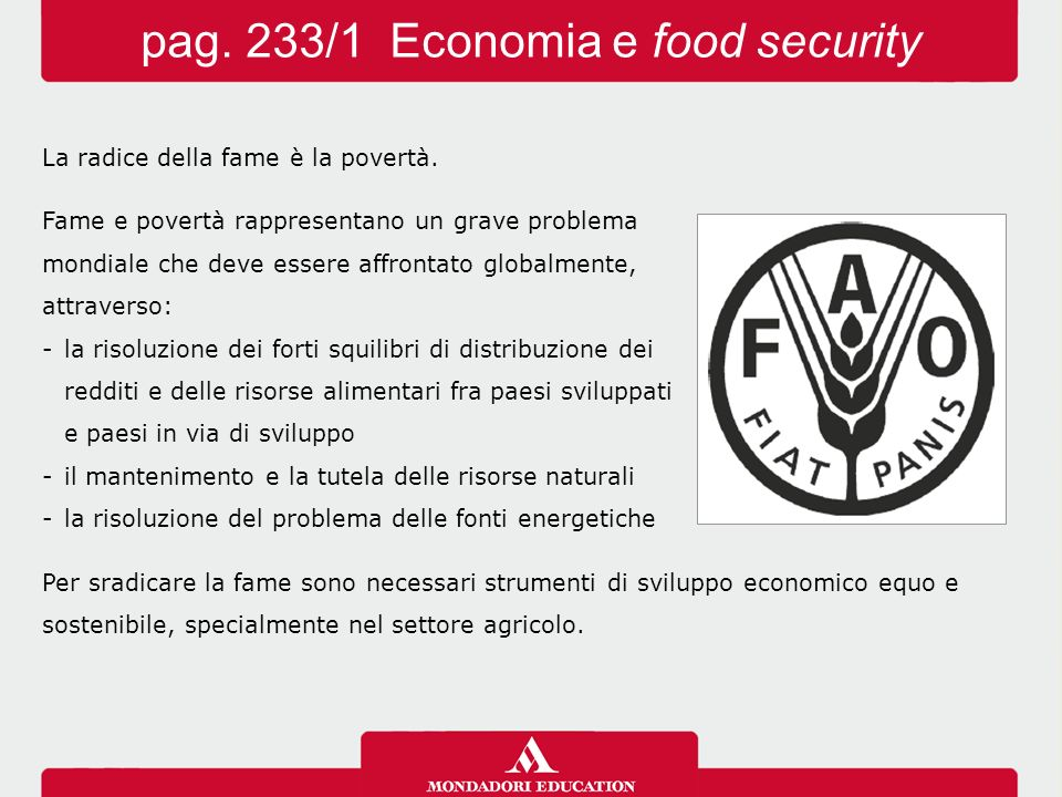 pag. 233/1 Economia e food security