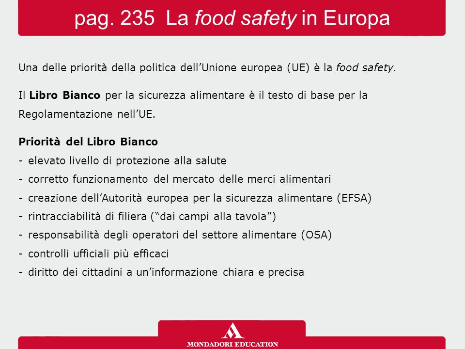 pag. 235 La food safety in Europa