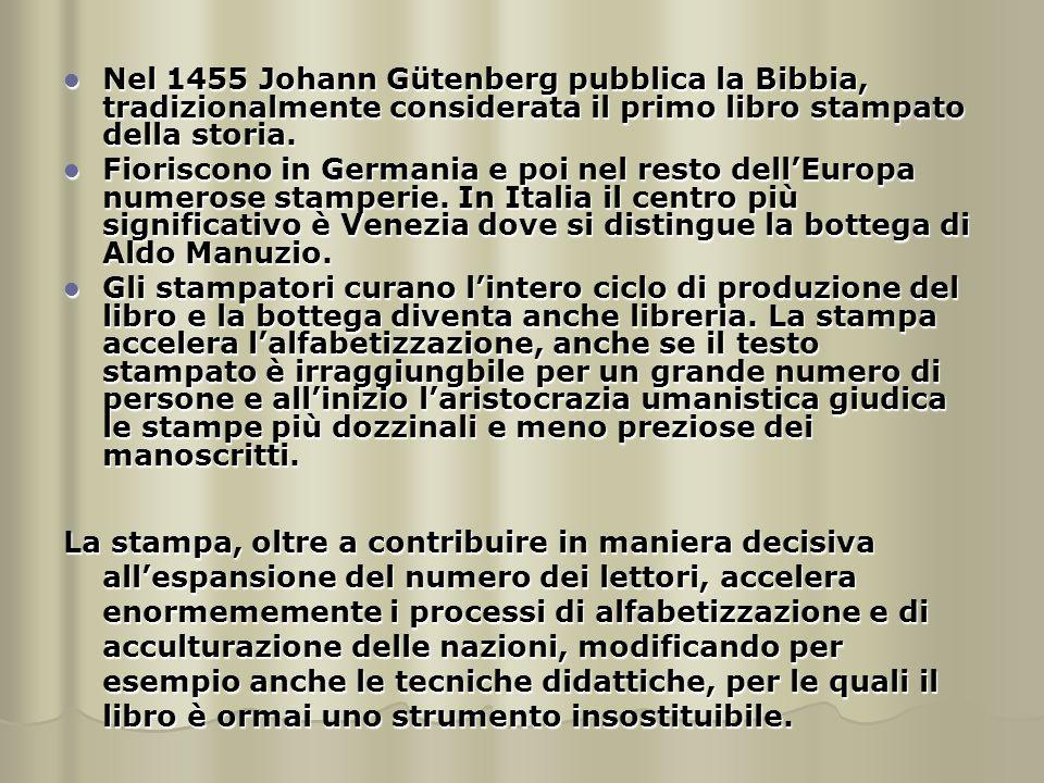 Nel 1455 Johann Gütenberg pubblica la Bibbia, tradizionalmente considerata il primo libro stampato della storia.