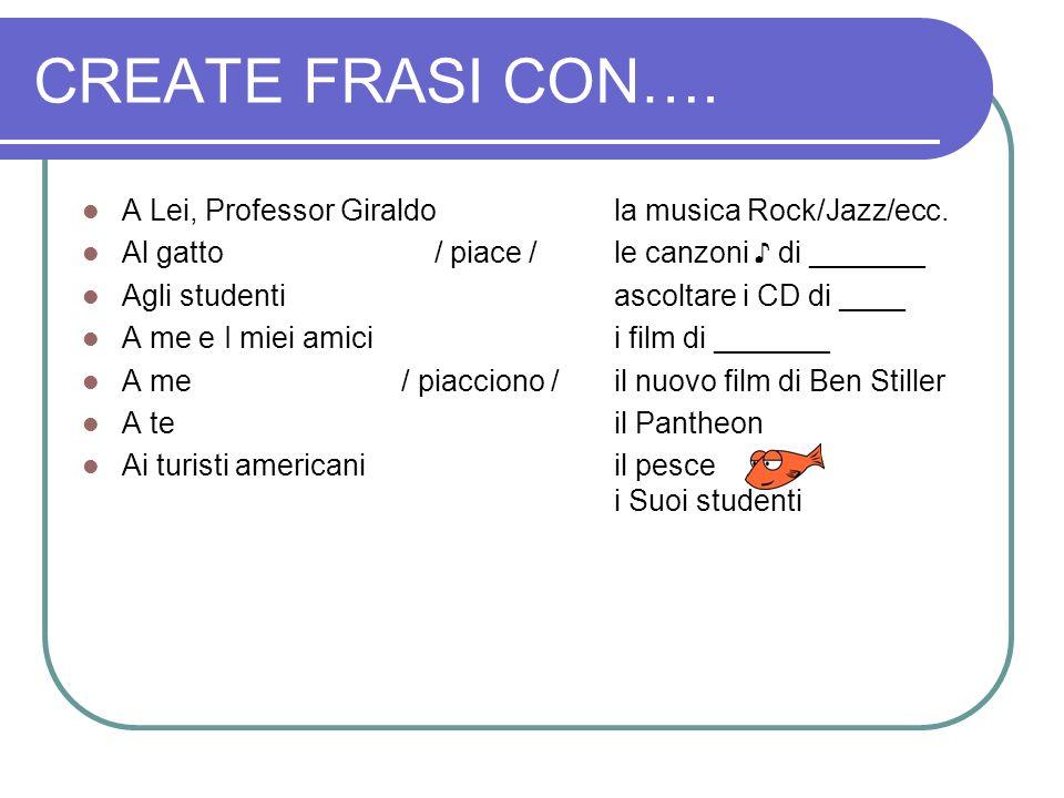 CREATE FRASI CON…. A Lei, Professor Giraldo la musica Rock/Jazz/ecc.