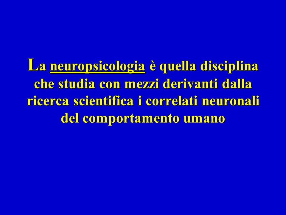 La neuropsicologia è quella disciplina che studia con mezzi derivanti dalla ricerca scientifica i correlati neuronali del comportamento umano