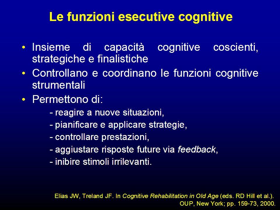 Le funzioni esecutive sono capacità metacognitive che controllano le funzioni corticali strumentali necessarie per l'esecuzione di azioni finalistiche.