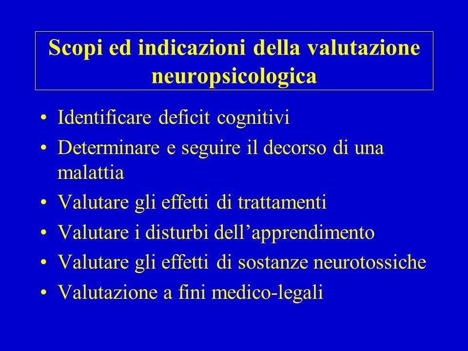 Scopi ed indicazioni della valutazione neuropsicologica