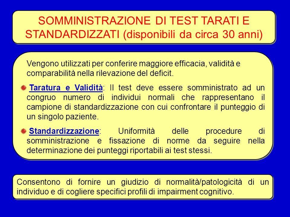 SOMMINISTRAZIONE DI TEST TARATI E STANDARDIZZATI (disponibili da circa 30 anni)