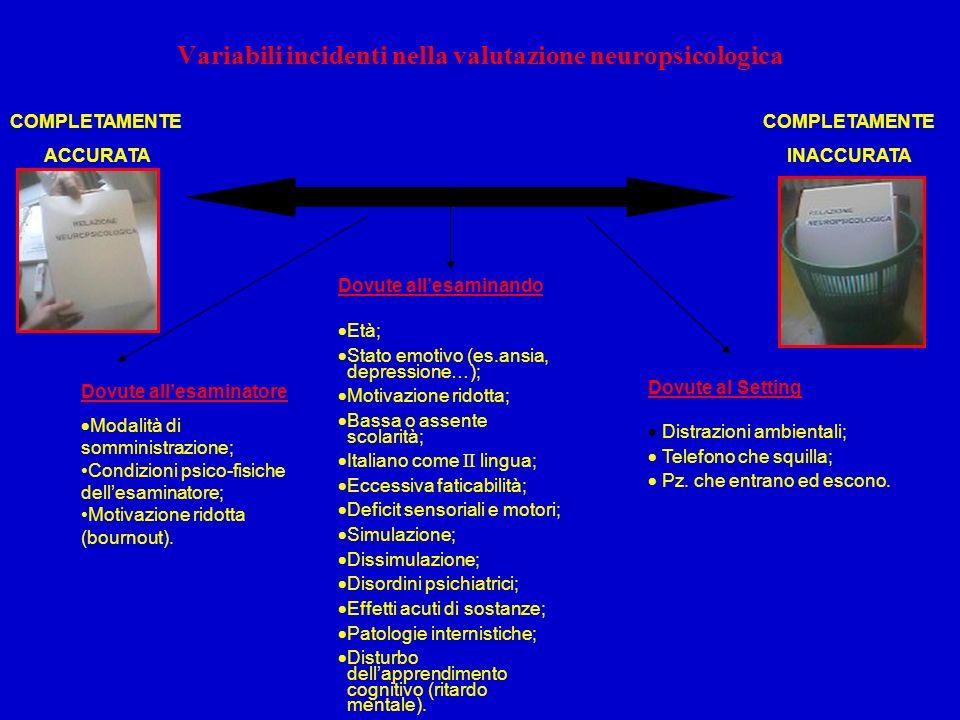 Variabili incidenti nella valutazione neuropsicologica