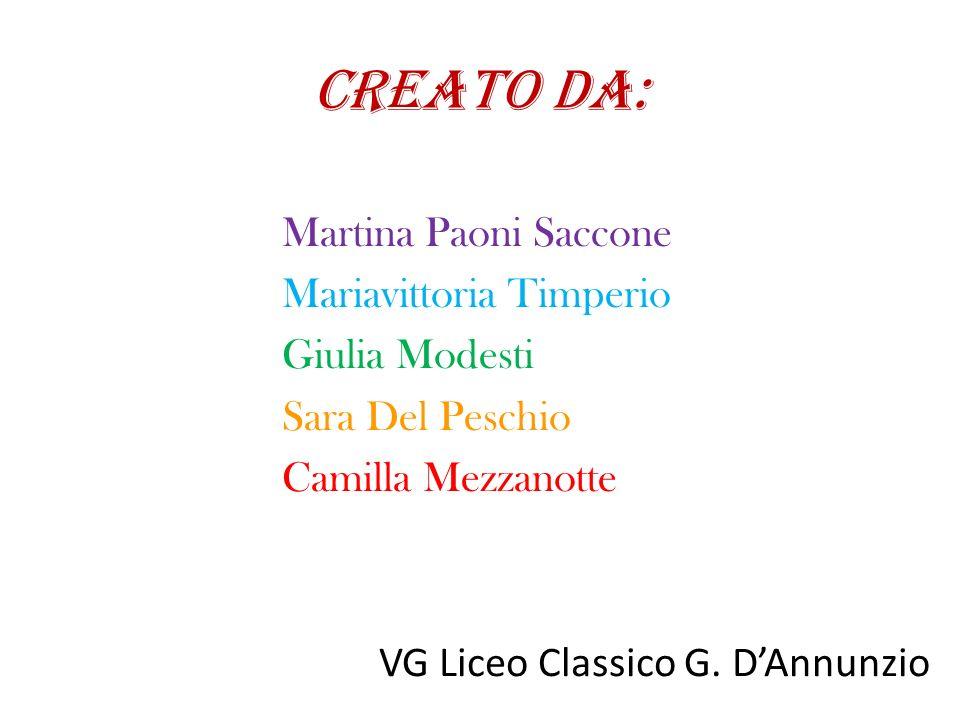 CREATO DA: Martina Paoni Saccone Mariavittoria Timperio Giulia Modesti Sara Del Peschio Camilla Mezzanotte VG Liceo Classico G.