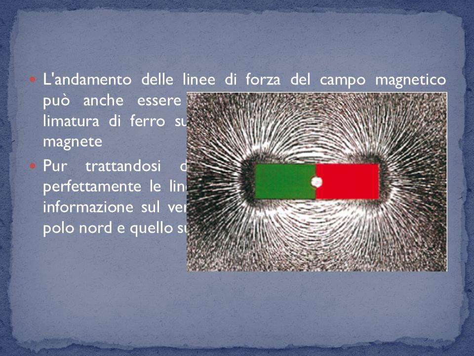 L andamento delle linee di forza del campo magnetico può anche essere visualizzato facendo cadere della limatura di ferro su un foglio di carta posto sopra al magnete
