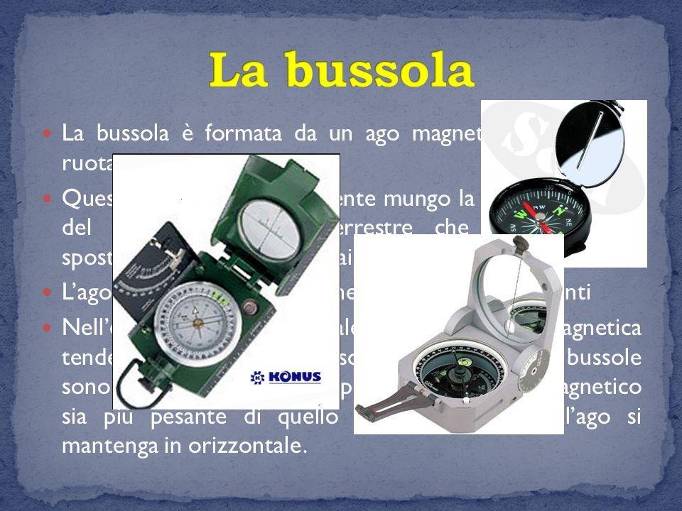 La bussola La bussola è formata da un ago magnetizzato libero di ruotare.