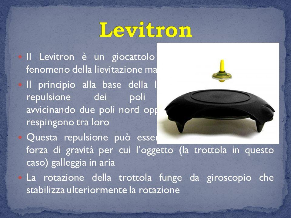 Levitron Il Levitron è un giocattolo scientifico che sfrutta il fenomeno della lievitazione magnetica.