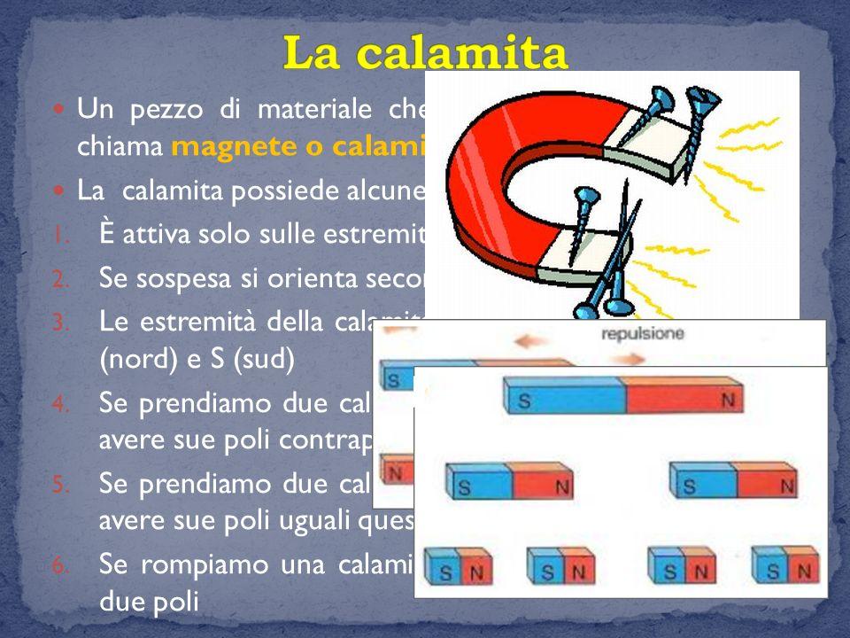 La calamita Un pezzo di materiale che è dotato di magnetismo si chiama magnete o calamita. La calamita possiede alcune proprietà: