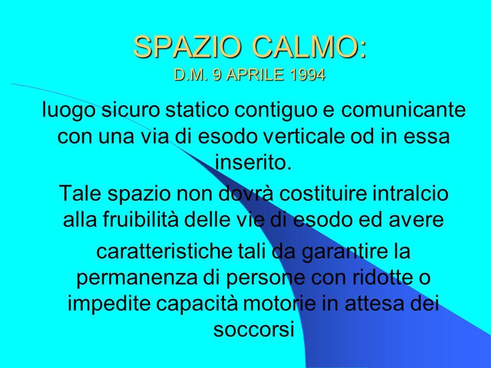 SPAZIO CALMO: D.M. 9 APRILE 1994