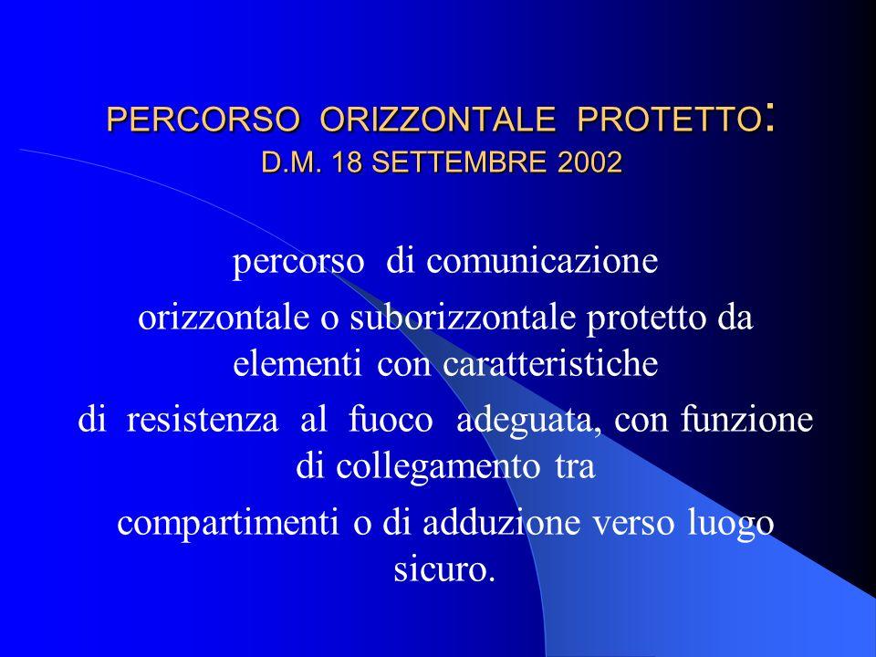 PERCORSO ORIZZONTALE PROTETTO: D.M. 18 SETTEMBRE 2002