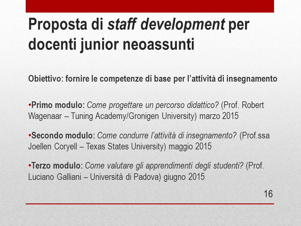 Proposta di staff development per docenti junior neoassunti