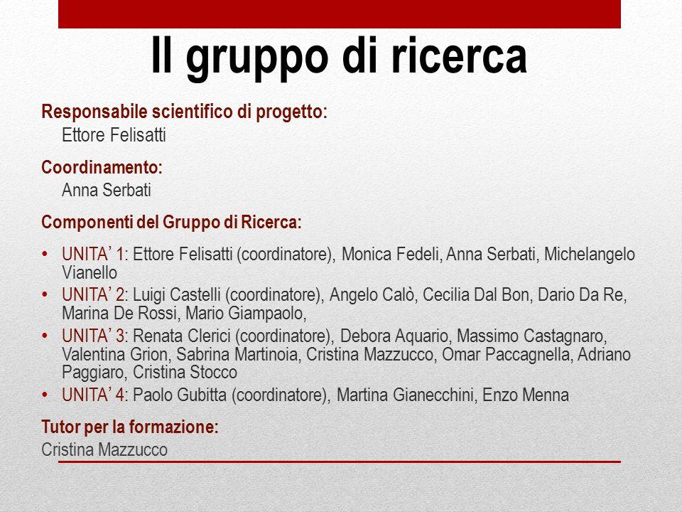 Il gruppo di ricerca Responsabile scientifico di progetto: