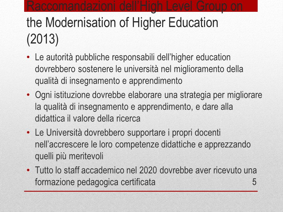 Raccomandazioni dell'High Level Group on the Modernisation of Higher Education (2013)