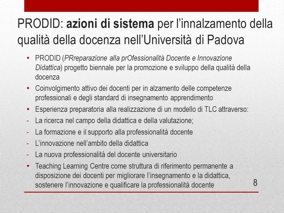 PRODID: azioni di sistema per l'innalzamento della qualità della docenza nell'Università di Padova