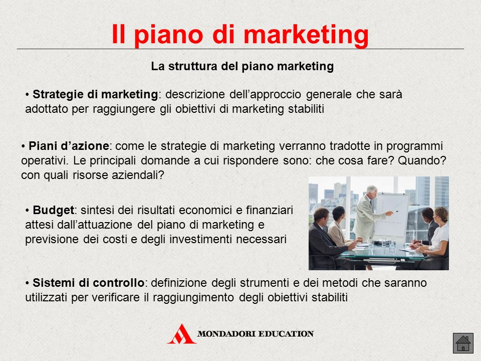 La struttura del piano marketing
