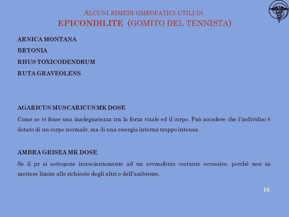 Alcuni rimedi omeopatici utili in epicondilite (gomito del tennista)