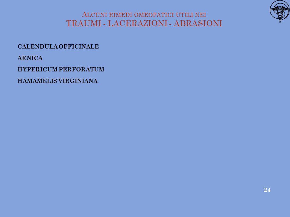 Alcuni rimedi omeopatici utili nei TRAUMI - LACERAZIONI - ABRASIONI