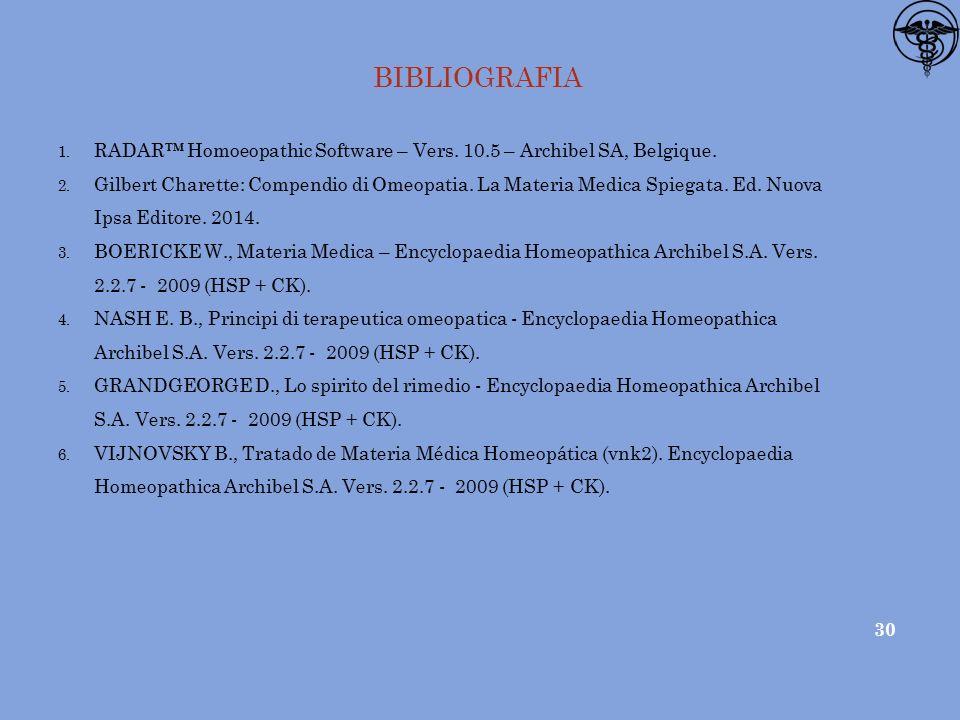 BIBLIOGRAFIA RADAR™ Homoeopathic Software – Vers. 10.5 – Archibel SA, Belgique.