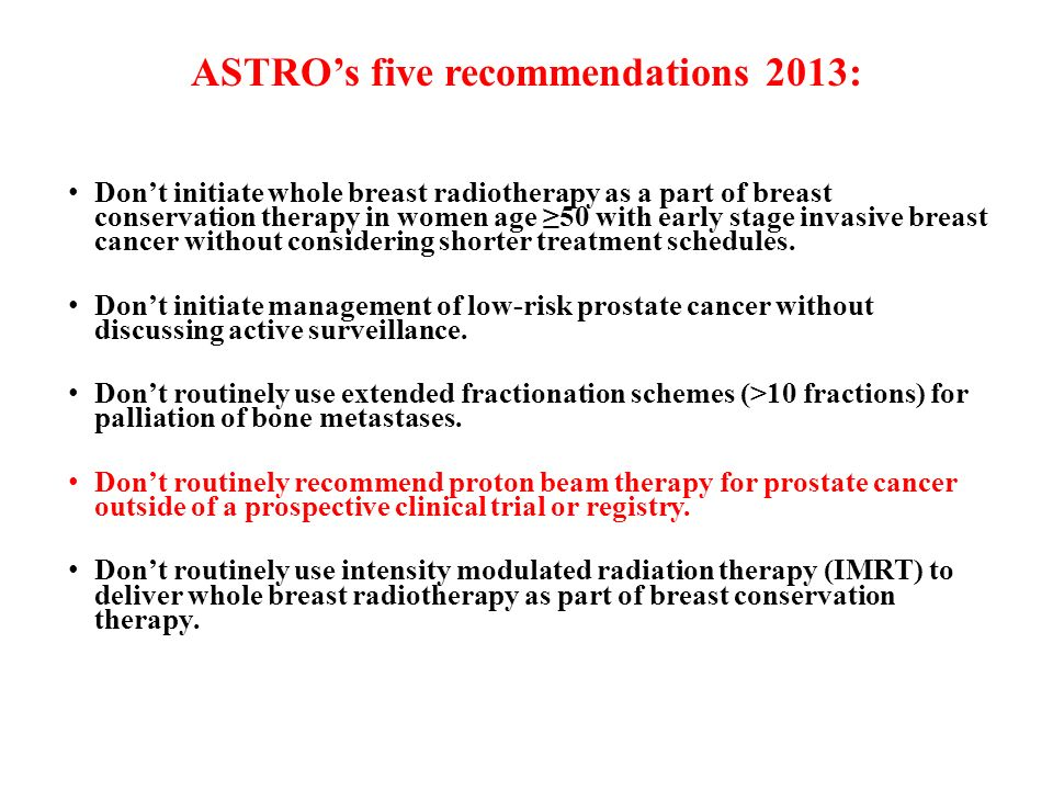 ASTRO's five recommendations 2013: