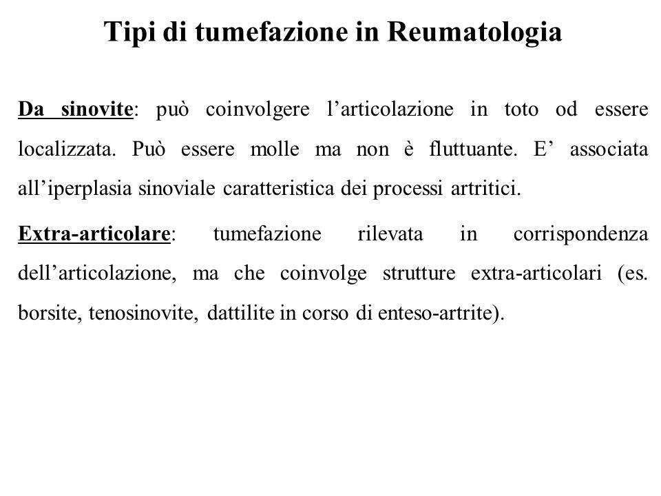Tipi di tumefazione in Reumatologia