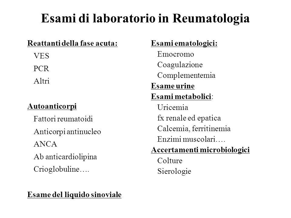 Esami di laboratorio in Reumatologia