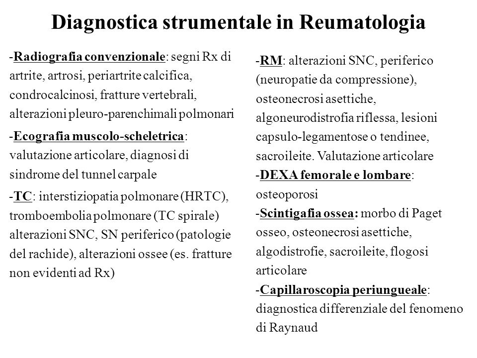 Diagnostica strumentale in Reumatologia