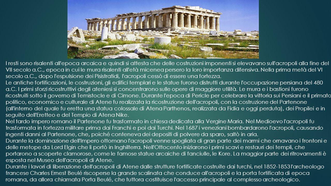 I resti sono risalenti all epoca arcaica e quindi si attesta che delle costruzioni imponenti si elevavano sull acropoli alla fine del VII secolo a.C., epoca in cui le mura risalenti all età micenea persero la loro importanza difensiva. Nella prima metà del VI secolo a.C., dopo l espulsione dei Pisistratidi, l acropoli cessò di essere una fortezza.