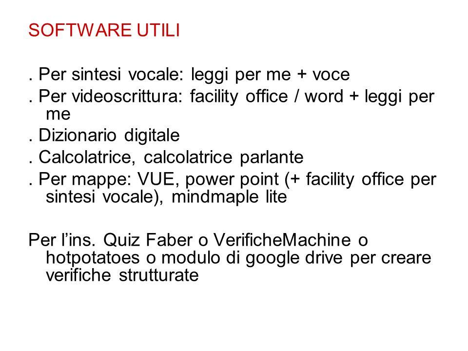 SOFTWARE UTILI . Per sintesi vocale: leggi per me + voce. . Per videoscrittura: facility office / word + leggi per me.
