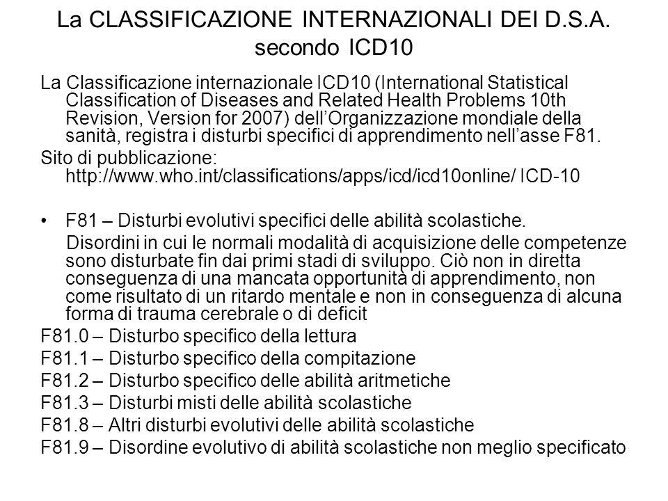 La CLASSIFICAZIONE INTERNAZIONALI DEI D.S.A. secondo ICD10